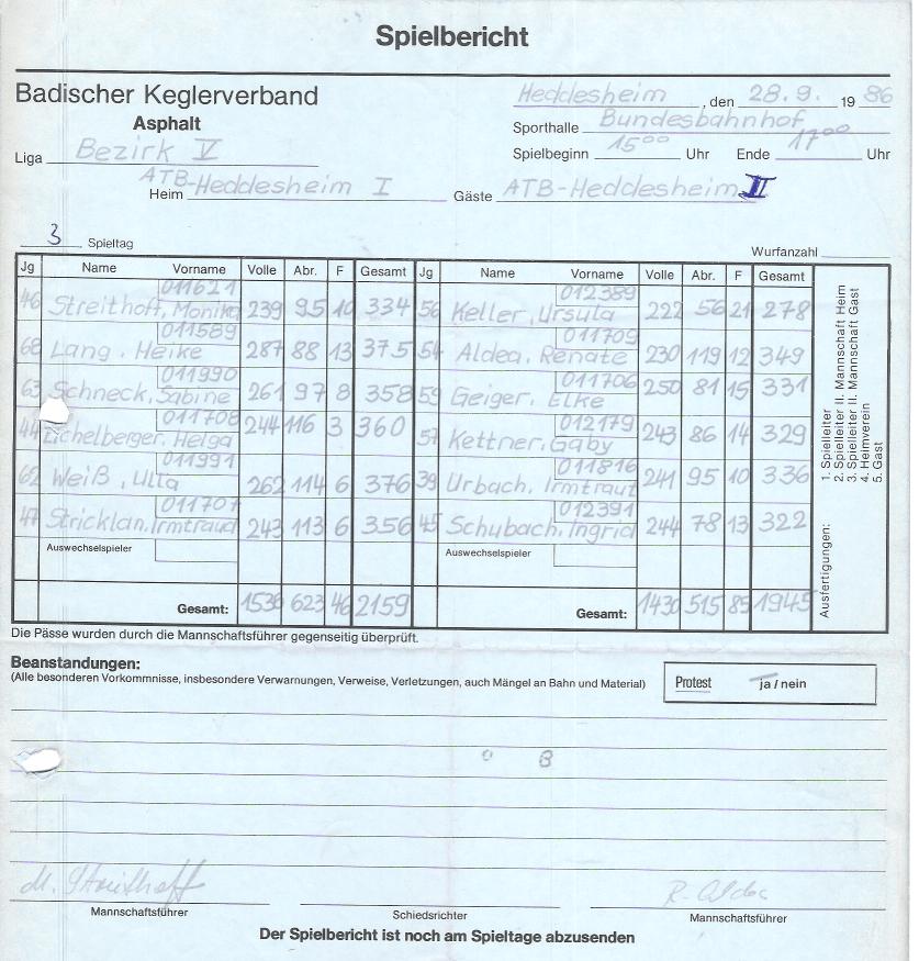 Spielbericht 1986